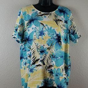 Chico's   Women Tropical Side Tie Top  Sz XL